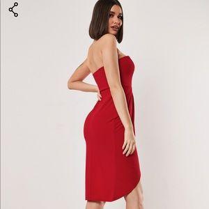 Missguided Dresses - Bandeau wrap bodycon midi dress